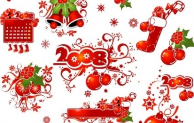 Free vector Vector pattern  2008 CHRISTMAS DECORATION ELEMENTS AND PATTERNS VECTOR MATERIAL