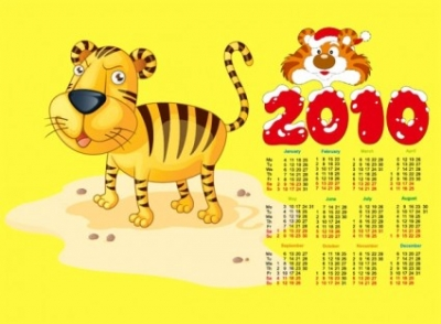Free vector Vector misc  2010 calendar with cute tiger vector