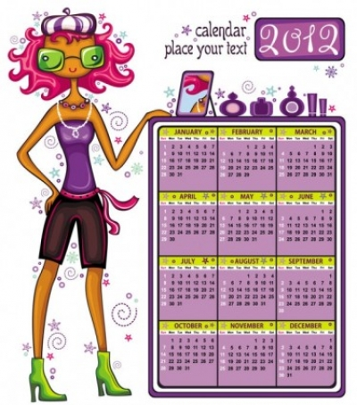 Free vector Vector cartoon  2012 cartoon girls calendar vector