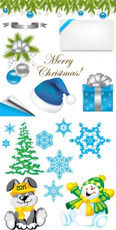 2 sets of christmas element vector Free vector 4.48MB