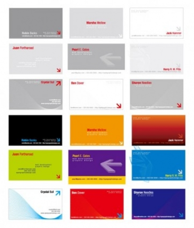 Free vector Vector misc  2 sets of threedimensional arrow theme business card template