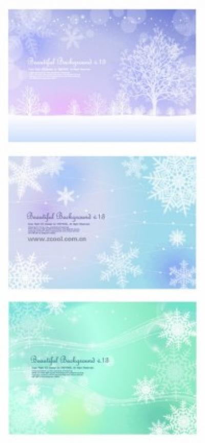 Free vector Vector background  3 fluttering snowflakes vector background