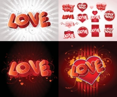 Free vector Vector misc  3d love fonts vector
