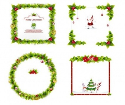 Free vector Vector Christmas  4 christmas wreath border vector