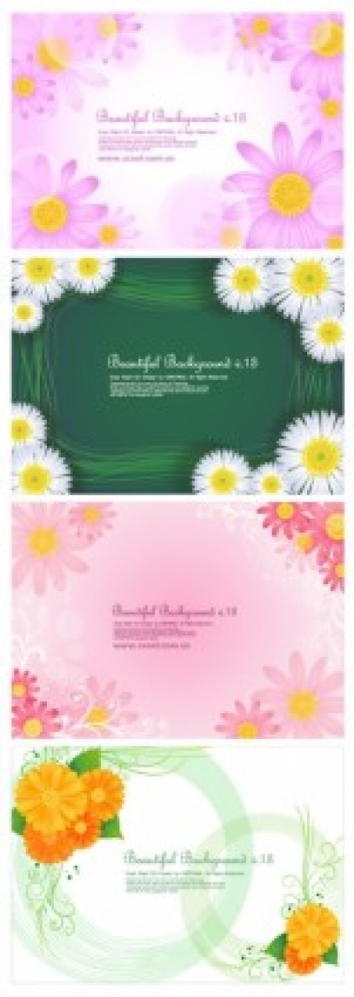 Free vector Vector background  4 cute little daisy background vector