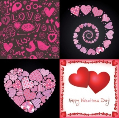 Free vector Vector Heart  4 lovely valentine day vector elements