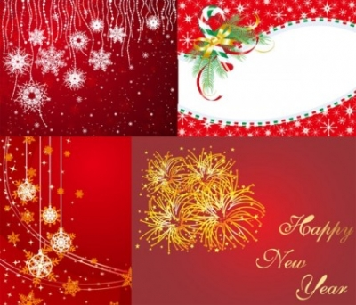 Free vector Vector Christmas  4 red christmas and new year vector