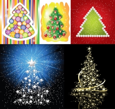 Free vector Vector Christmas  5 beautiful christmas tree vector