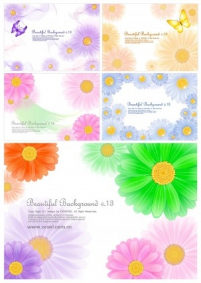 Free vector Vector background  5 cute little daisy background vector