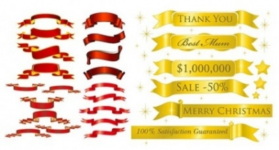 Free vector Vector banner  5 sets of festive ribbon banner vector material