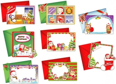 8 lovely christmas card vector Free vector 7.36MB