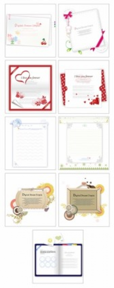 Free vector Vector misc  9 lovely greeting cards stationery vector