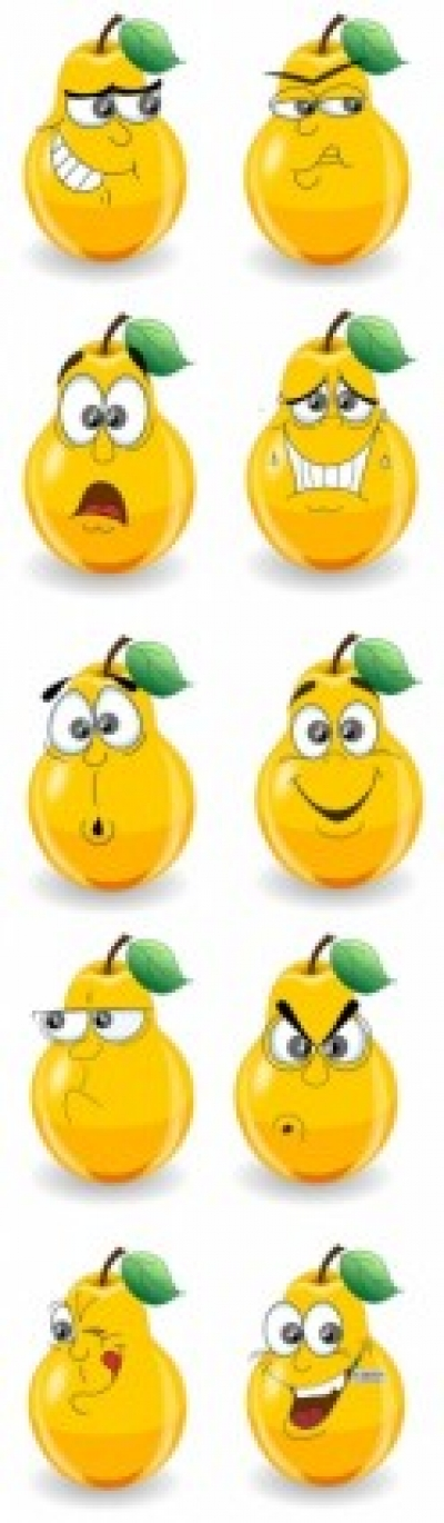 Free vector Vector cartoon  a cute cartoon pear expressions vector