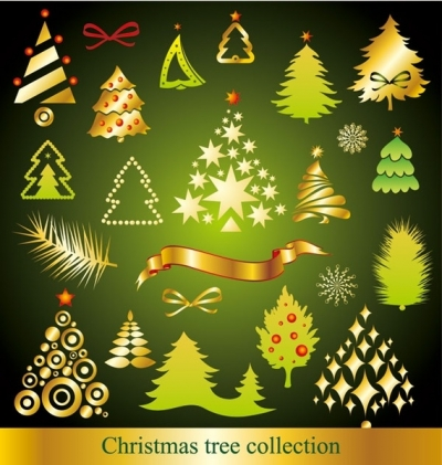 A variety of cartoon christmas tree vector Free vector 2.19MB