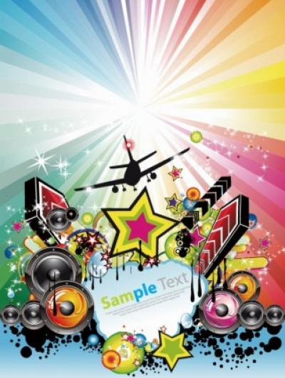 Free vector Vector abstract  Abstract Rainbow Disco Music Background