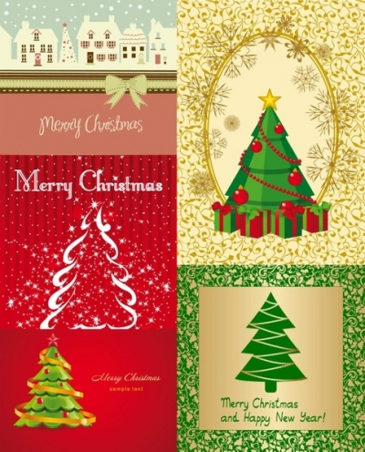 Free vector Vector cartoon  all kinds of cartoon christmas tree vector