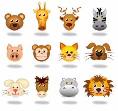 Free vector Vector icon  Animals face icons