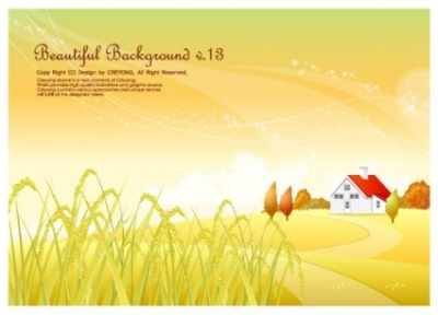 Free vector Vector background  autumn rice pastoral background vector