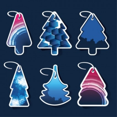 Free vector Vector Christmas  beautiful christmas tree label 01 vector