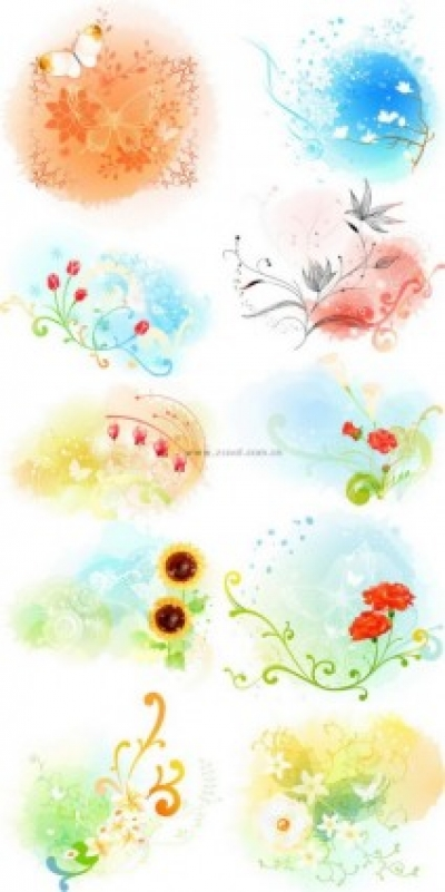 Free vector Vector pattern  beautiful floral pattern vector series 3 series 10p