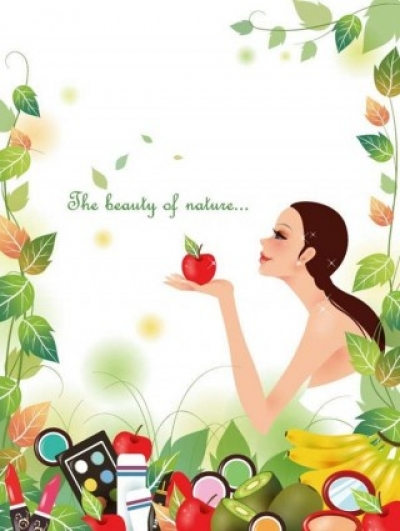 Free vector Vector background  Beautiful Girl with Nature Background Vector Illustration