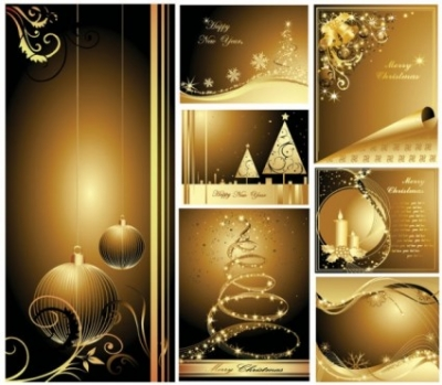 Free vector Vector Christmas  beautiful gold christmas cards vector