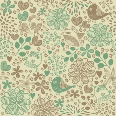Free vector Vector flower  Birds in Flowers Romantic Seamless Pattern Vector Background