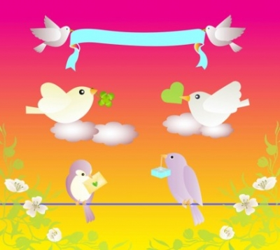 Free vector Vector Heart  Birds Love