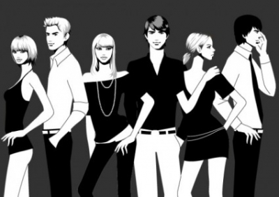 Free vector Vector people  black and white photographs of men and women vector fashion