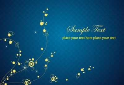 Free vector Vector abstract  Blue Background with Abstract Golden Floral Vector Graphic