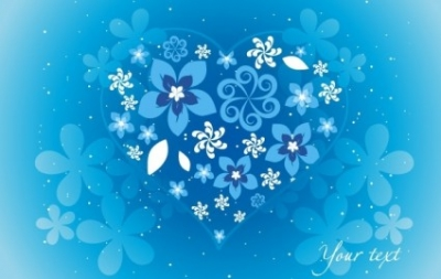 Free vector Vector floral  Blue Floral Heart