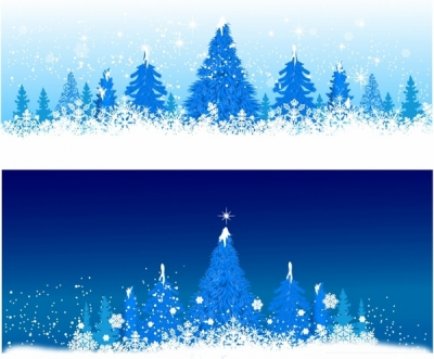 Free vector Vector misc  Blue winter Christmas trees