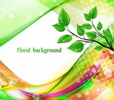 Free vector Vector floral  Bright Abstract Green Floral Background