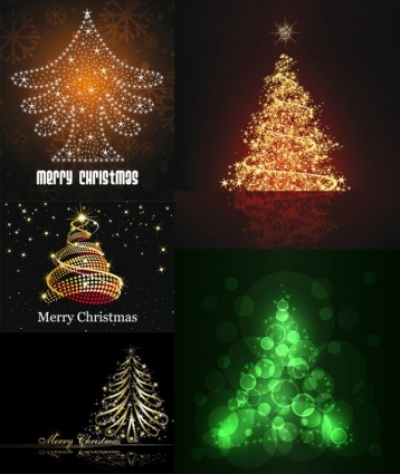 Free vector Vector Christmas  bright stars christmas tree vector
