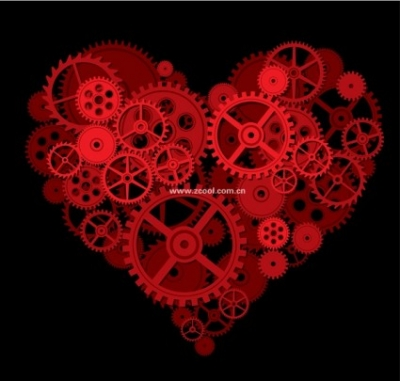 Free vector Vector Heart  by a gear composed of a large peach heart vector