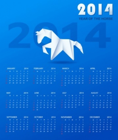Free vector Vector misc  Calendar 2014 with a paper horse
