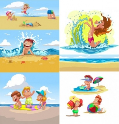 Free vector Vector cartoon  cartoon children summer beach vector