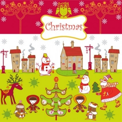 Free vector Vector background  cartoon christmas background 01 vector