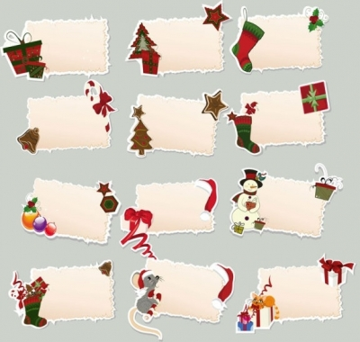 Free vector Vector cartoon  cartoon christmas elements label 01 vector