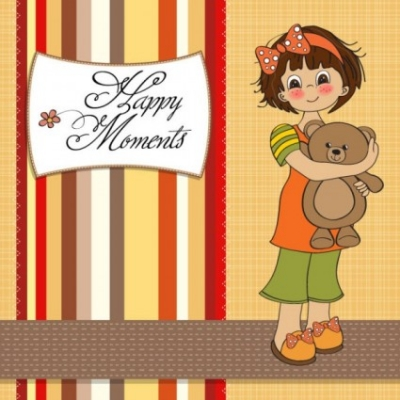 Free vector Vector cartoon  cartoon girl card 02 vector