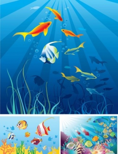 Free vector Vector cartoon  cartoon marine scenes vector