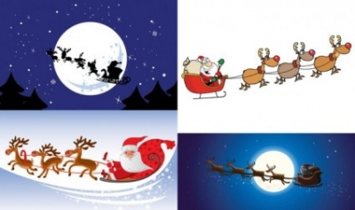 Free vector Vector cartoon  cartoon santa claus and elk vector