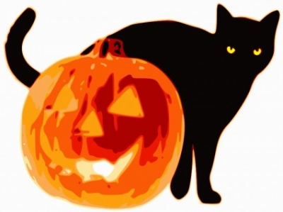 Free vector Vector clip art  Cat and Jack-O-Lantern
