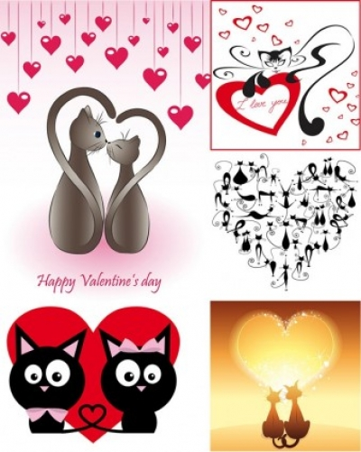 Free vector Vector Heart  cat love vector