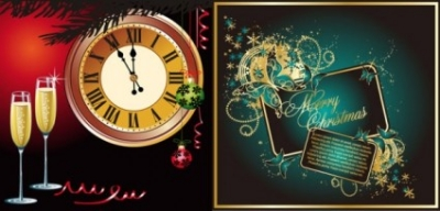 Free vector Vector misc  champagne and other elements of vector butterfly clock