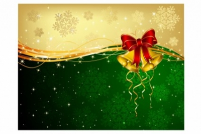 Free vector Vector misc  Christmas background with bells and decorative bow
