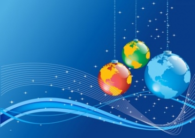 Free vector Vector Christmas  Christmas Background with Earth globe ball