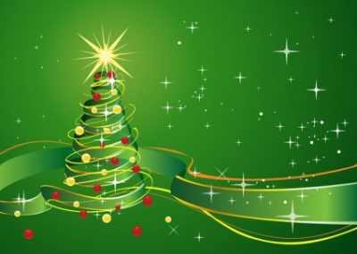Free vector Vector Christmas  Christmas Background with star and green ribbon