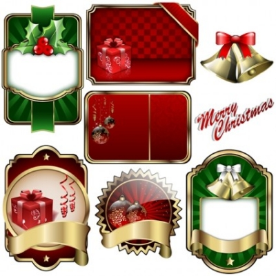 Free vector Vector Christmas  christmas badge shield vector label