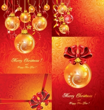 Free vector Vector Christmas  christmas balls hanging with ribbons fine vector